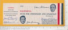 8144 CA Fund Adlai Stevenson John J Sparkman receipt 1952 campaign Jean L Heartz