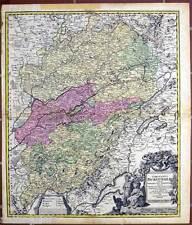 BOURGOGNE-Comitatus Burgundiae-cuivre clés carte HOMANN 1716-France-France