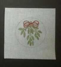 New ListingHand-painted Needlepoint Canvas Round Ornament/Mistletoe Tied With Red Bow