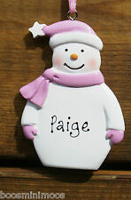 Personalised Family Decoration Christmas/Xmas, Snowman, Pink Blue or Red