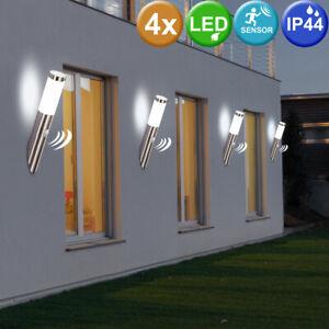 4er Set LED Acciaio Inox Esterno Parete Luci Garage Movimento Samsung Chip