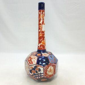 A877: Very rare Japanese OLD IMARI porcelain biggish bud vase of wonderful form