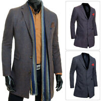 Mens Trench Coat 3/4 Long Jacket Elegant Lightweight Cashmere Overcoat Slim Fit