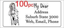 100 Personalised return address label adhesive custom sticky sticker 56x25mm
