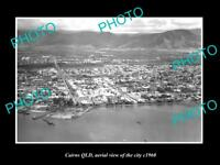 OLD LARGE HISTORIC PHOTO OF CAIRNS QUEENSLAND, AERIAL VIEW OF THE CITY c1960