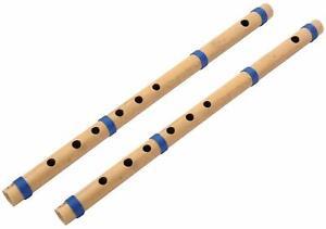 Indien Beau en Bois Handmade Flûte Bambou C Échelle Et Un, Ensemble De 2 Pièces