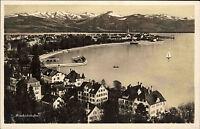 Friedrichshafen Bodensee s/w Postkarte ~1940 Totale Alpen im Hintergrund Boote