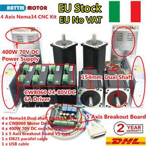 4 Axis Nema34 Stepper Motor 1600oz-in Dual Shaft&6A Driver Mach3 Control CNC Kit