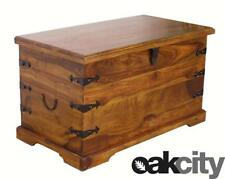 Maharajah Indian Rosewood Blanket Box Trunk - Solid Wood Stained Waxed Finish