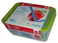 Emsa 515585 Clip & Close Frischhaltedosen 3er-Set 0,55 / 1,0 / 2,3 Liter
