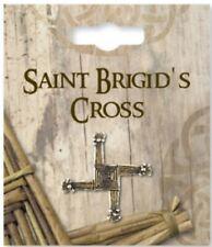 Lapel Pin/Small Brooch: St. Bridget's / Brigid's Cross, Antique Gold Finish