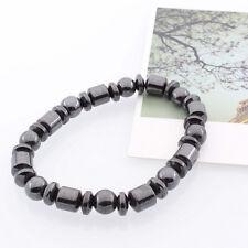 Black Round Bead Hematite Magnetite Gems Elastic Bracelet Healing Bangle Relief