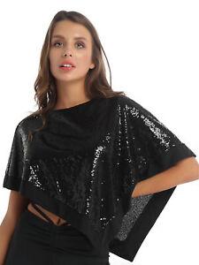 Damen Umhang Cape Pailletten Schal Boleros Shirts Asymmetrischer Mentel Top