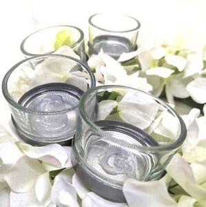 4 x Teelichthalter Hochzeit 4cm Silber Klar Kerzenhalter langer Dorn Gesteck