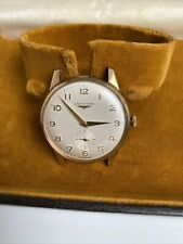 LONGINES Vintage .375 9k Solid Yellow Gold Mechanical Watch with Box 33mm