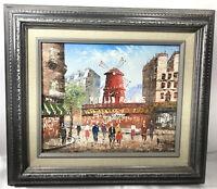 Original Painting Paris Moulin Rouge Scene Oil On Wood Signed Caroline Burnett