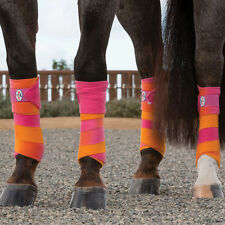 4pk Professionals Choice Pink Orange Fleece Polo Wraps Horse Leg Joint Swelling