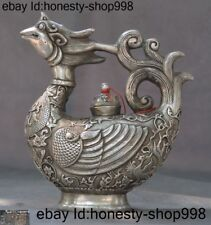 old Chinese Tibetan silver Dragon Phoenix bird statue Wine Tea Pot Teapot Flagon