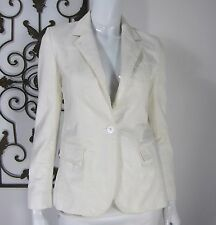 BURBERRY LONDON LONG SLEEVE ONE BUTTON BLAZER SIZE 4 SOLID WHITE Made In Italy