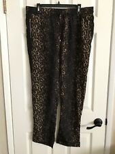 To To Collection Women 2XL animal print Pants Casual zipper pockets gold details