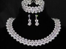 3PC Set Hugs and Kisses Necklace,Earrings & Bracelet Silver W.Rhinestone & Pearl