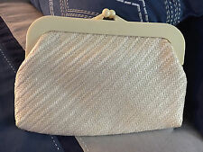 1970'S CREAM RAFFIA CLUTCH BY MCi WORLD OF FINE HANDBAGS Made in Hong Kong
