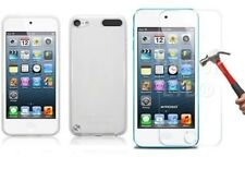 Clear Silicone Slim Gel Case and Glass Screen Protector for iPod Touch 5th Gen