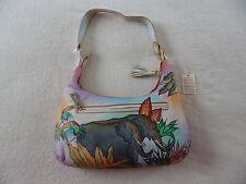 "Womens Genuine Leather Hand Painted ""Rain Forest"" Hobo Tote Shoulder Bag Handbag"
