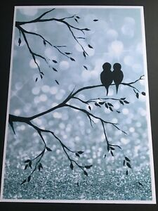 A4 Silver Grey Glitter effect Black Love Birds Tree Branches Art Print Poster