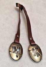 Michael Kors M K Silver Tone & Brown Leather key Fob Hang Tag Charm Purse Tag