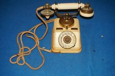 Antique Rotary Telephone Denmark White with Coat of Arms