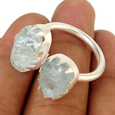 Trendy Natural Raw AQUAMARINE Gemstone Sterling Silver Prong Open Ring-EB1457