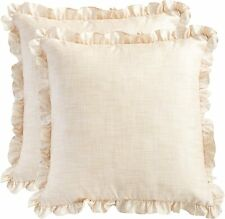 The White Petals Cream Frills Cushion Covers for Sofa, Couch & Bed (20x20 inch,