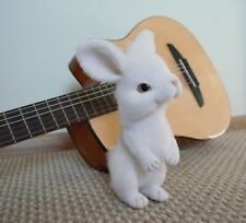 Felted stuffed white bunny Soft sculpture for home decor Unusual Easter gif