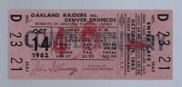 1962 AFL NFL DENVER BRONCOS @ OAKLAND RAIDERS FULL UNUSED FOOTBALL TICKET OCT 14