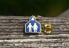 School House Boy Girl & Bell Gold Tone Metal & Blue Enamel Lapel Pin Pinback