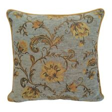 Chenille Blue - Yellow/Orange Flowers 18x18 Decorative Pillow Case/Cushion Cover