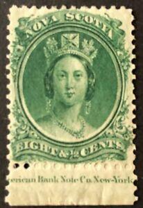 NOVA SCOTIA 1860-1863 # 11 QUEEN VICTORIA - 8 1/2 d - GREEN - MINT HINGED