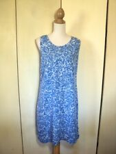 SALE blueginger  blue  white print dress shift rayon  worn once  paisley  rayon