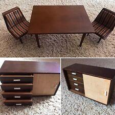 Vintage NM! Mattel Mid Century Modern 1958 Barbie furniture TABLE CHAIRS BUFFET