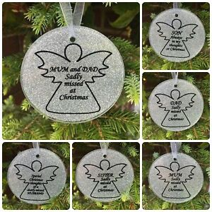 Memorial Christmas Glass Angel Silver Bauble Xmas Tribute Tree Decoration