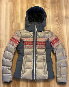 Bogner Women's Yara Down Ski Jacket In Golden Brown / Gray FREE SHIPPING