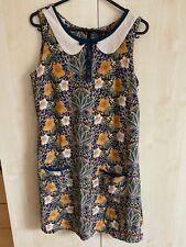Miss Selfridge Petites Brown Floral Shift Dress Peter Pan Collar Size 8