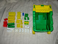 lot of Mega blok and duplo blocks, garden cart, smaller wagons/carts, train
