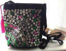 Black Canvas Cross Body Green Pink Tan Silk Embroidered Tree of Life Handbag