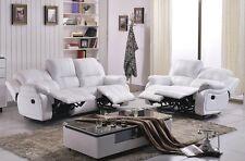 Voll-Leder Couch Sofa Garnitur Relaxsessel Fernsehsessel 5129-3+2-weiß sofort