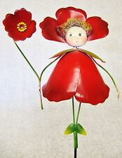 Cute Whimsical Colorful 3D Metal Garden Stake ~ Red Flower Petal Bonnet Fairy