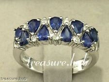 R251- Genuine 9ct Solid White GOLD Natural SAPPHIRE Diamond Eternity Ring size N