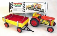 KOVAP ZETOR TRACTOR WITH TRAILER Windup Hand Made Tin Toy 1:25