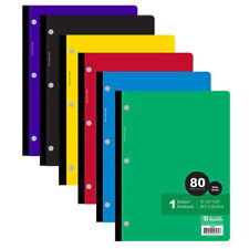 4 Pack Bazic Wide Ruled Notebook Theme Books 80 Sheets Assorted Colors